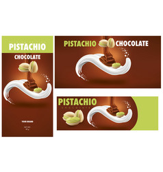 Chocolate packaging with pistachio vector