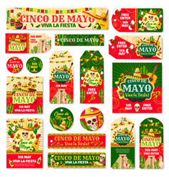 Cinco de mayo tag and fiesta party invitation card vector