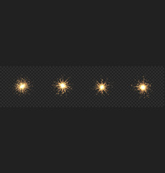 Collection star burst with sparkles golden vector