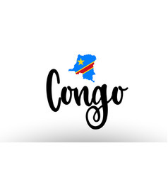 Congo country big text with flag inside map vector