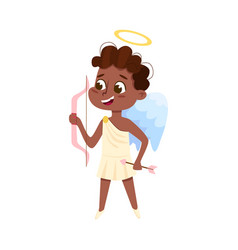 Cute baby angel shooting with bow african vector