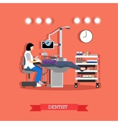 dentist and patient in vector image