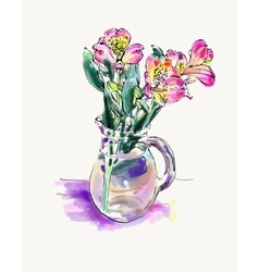 Digital watercolor painting of flower isolated on vector