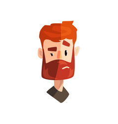Doubting redhead bearded man male emotional face vector