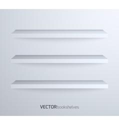 Empty book shelves vector