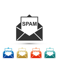 envelope with spam icon on white background vector image