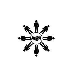 flat icon of team work black on white background vector image