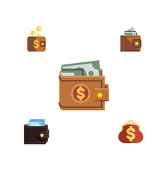 Flat icon wallet set of finance payment billfold vector