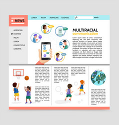 Flat multiracial communication webpage concept vector