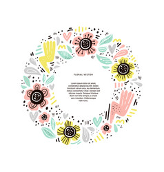 floral round flat hand drawn frame vector image