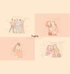friends siblings hugging sisters spending time vector image