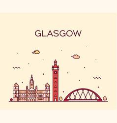 glasgow skyline scotland trendy line style vector image