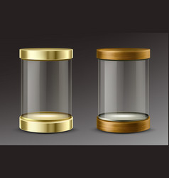 glass cylinder capsule with golden and wooden cap vector image