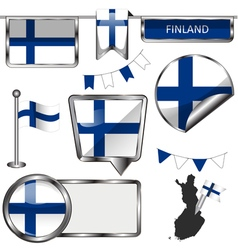 Glossy icons with Finnish flag vector