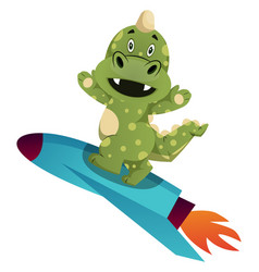 Green dragon is riding a rocket on white vector