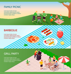 Grill party isometric banners vector
