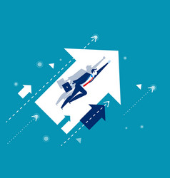 growth businessman flying and arrows concept vector image