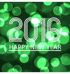 Happy new year 2016 on green bokeh circle vector