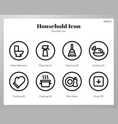 Household icons rounded pack vector