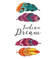 Indian Dream card with ethnic decorative vector