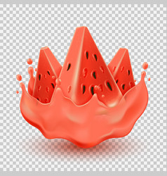 juice splashing effect with watermelon pieces vector image