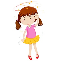 Little girl feeling dizzy vector