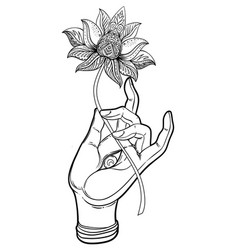 Lord buddha hand with eye holding lotus flower vector