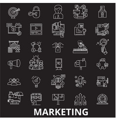 marketing editable line icons set on black vector image