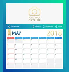 may 2018 calendar or desk vector image