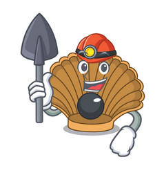 miner shell with pearl mascot cartoon vector image
