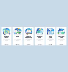Mobile app onboarding screens web software vector
