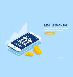 mobile banking web site template currency rate vector image