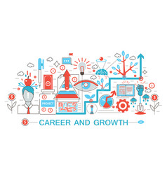 modern flat thin line design career and growing vector image