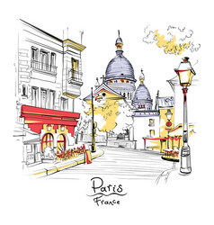 montmartre in paris france vector image