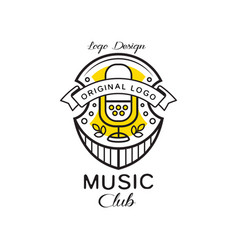 Music club logo design heraldic shield with retro vector