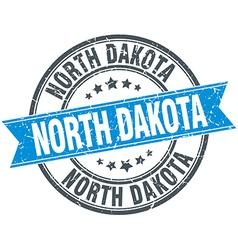 North Dakota blue round grunge vintage ribbon vector