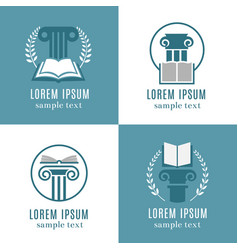 Open books and antique columns icons library vector