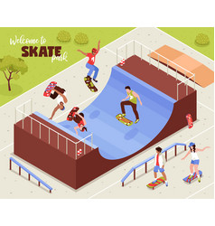 outdoor skate park background vector image
