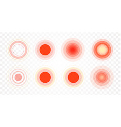 pain area icon set radial red circles target vector image
