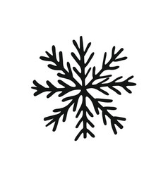 Painted cute snowflake silhouette symbol of vector