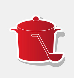 Pan with steam sign new year reddish icon vector