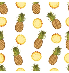 Pineapple seamless pattern on the white background vector