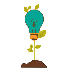 Plant stem with leaves and incandescent bulb with vector