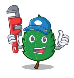 Plumber mint leaves mascot cartoon vector