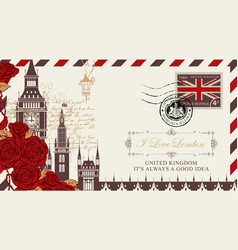 Postcard or envelope with big ben in london vector