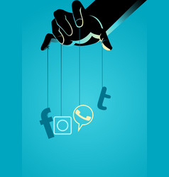 puppet master controlling social media symbol vector image