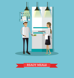 Ready meals in flat style vector