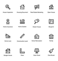 real estate equipment line icons pack vector image