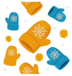 realistic detailed 3d knitted woolen mittens vector image