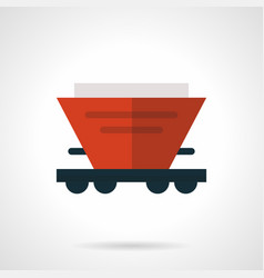 Red hopper wagon flat icon vector